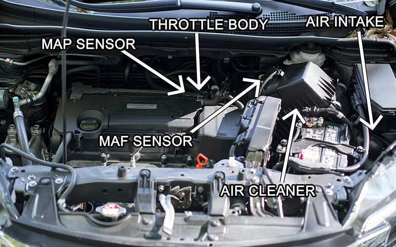 CRV Engine Bay MAP Sensor and MAF Sensor Location