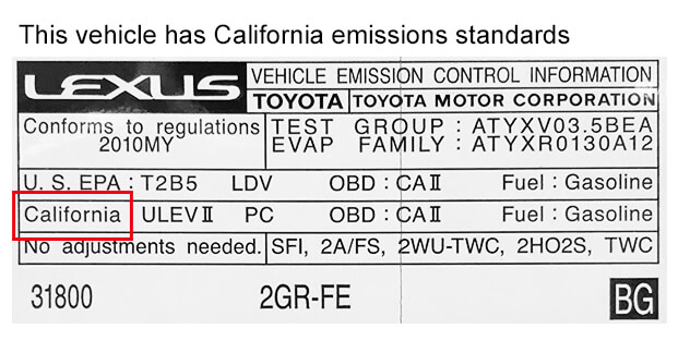 California Emissions Label Example