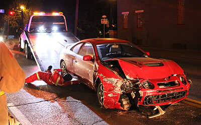 Car crash from drunk driving