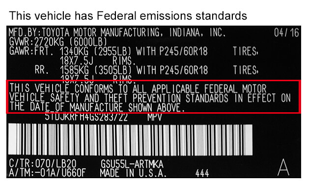 Federal Emissions Label Example