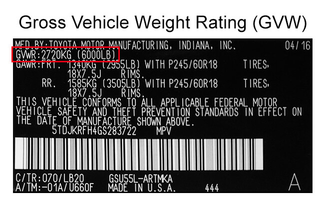 GVW on Emissions System Label