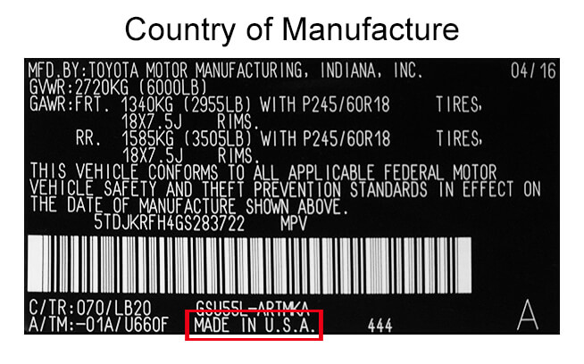Manufacturing Country on Emissions System Label