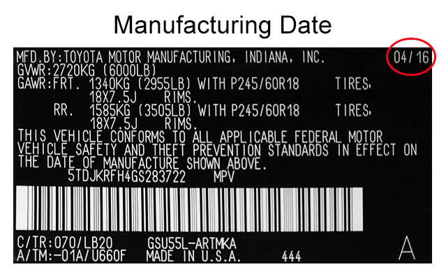 Manufacturing Date on Emissions System Label