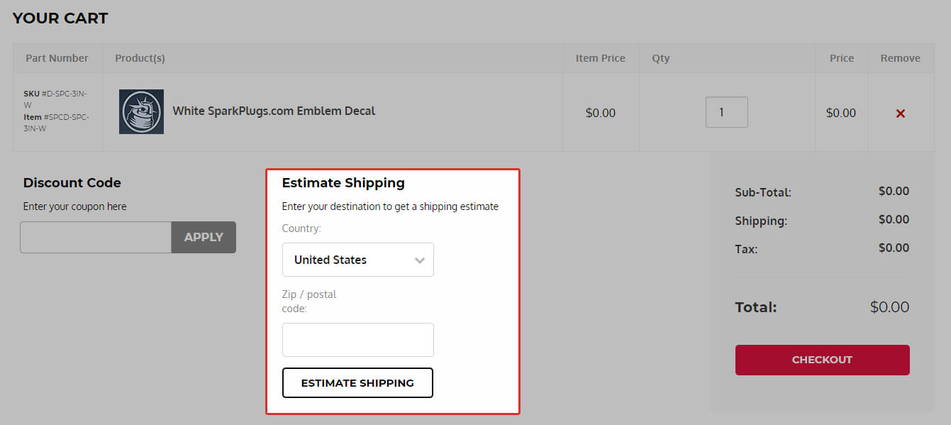 Shipping estimator screen shot