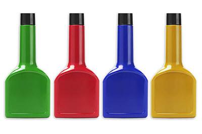 Bottles of Unlabeled Automotive Fluid