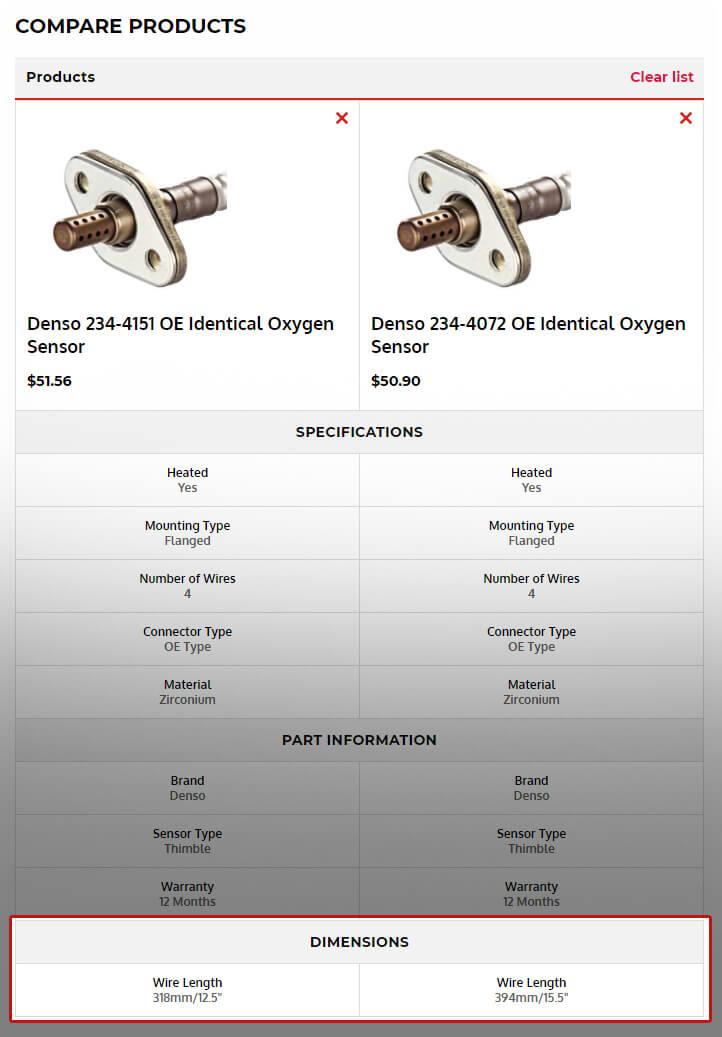 Comparing Product Specs